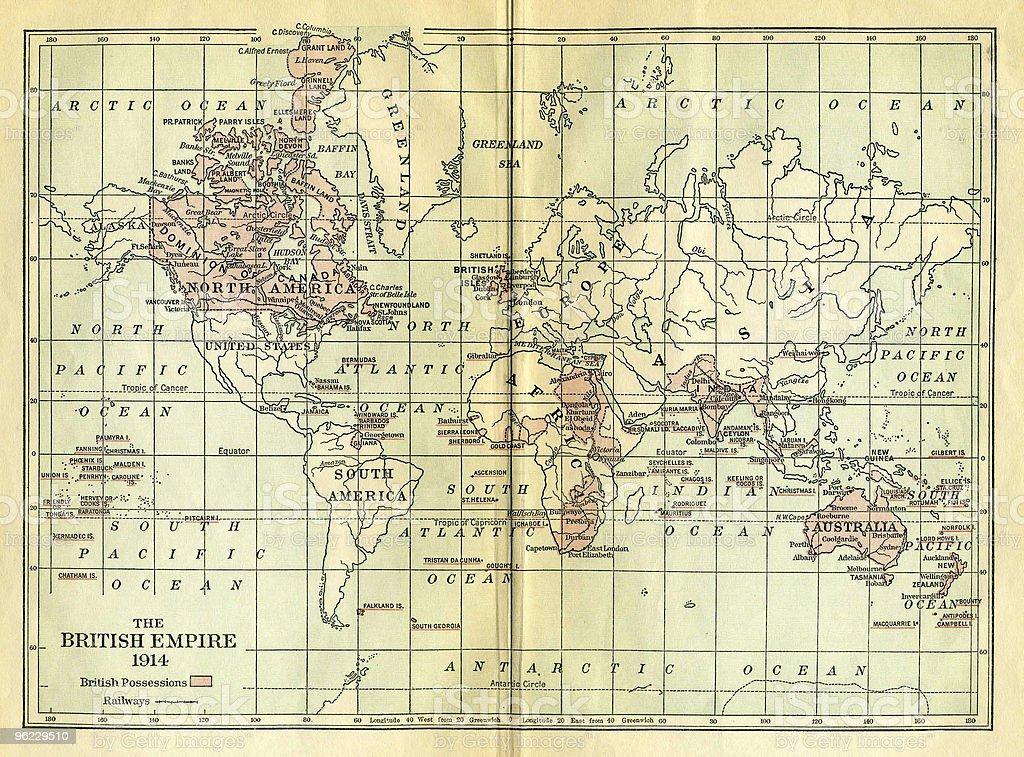 Vintage Map of British Empire stock photo