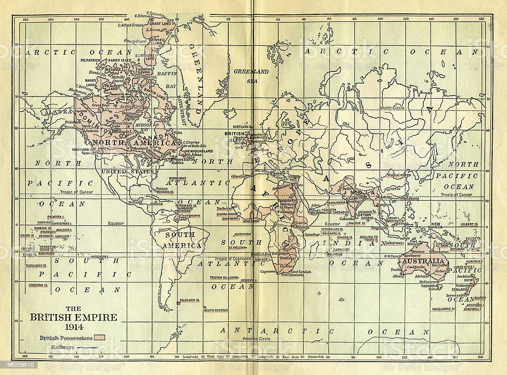 Vintage Map of British Empire stock photo