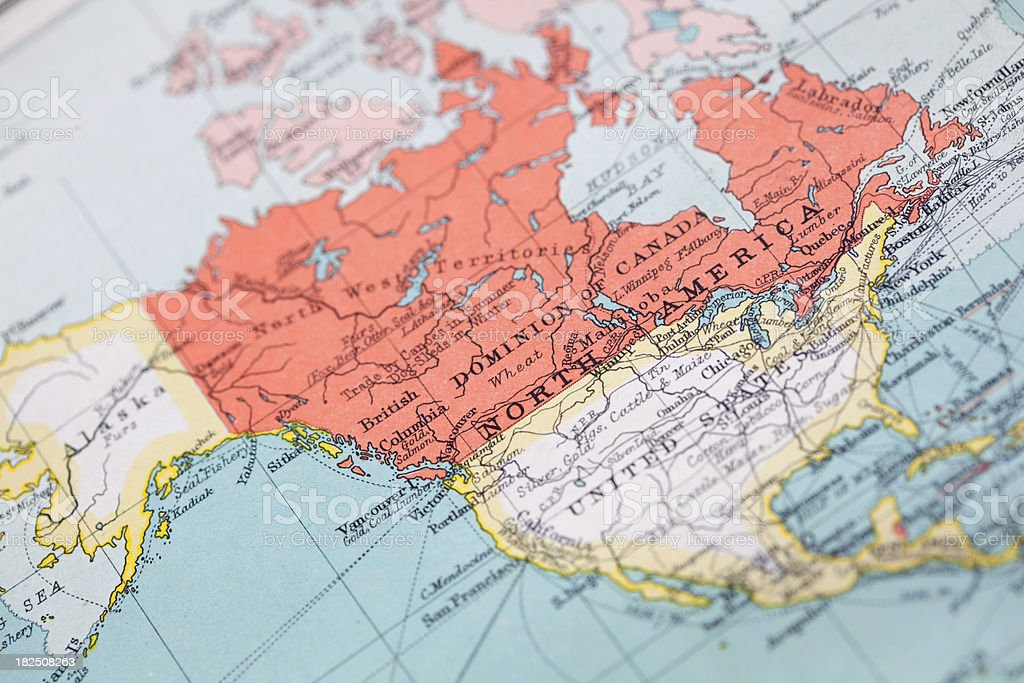 Vintage Map Of Canada & The US stock photo
