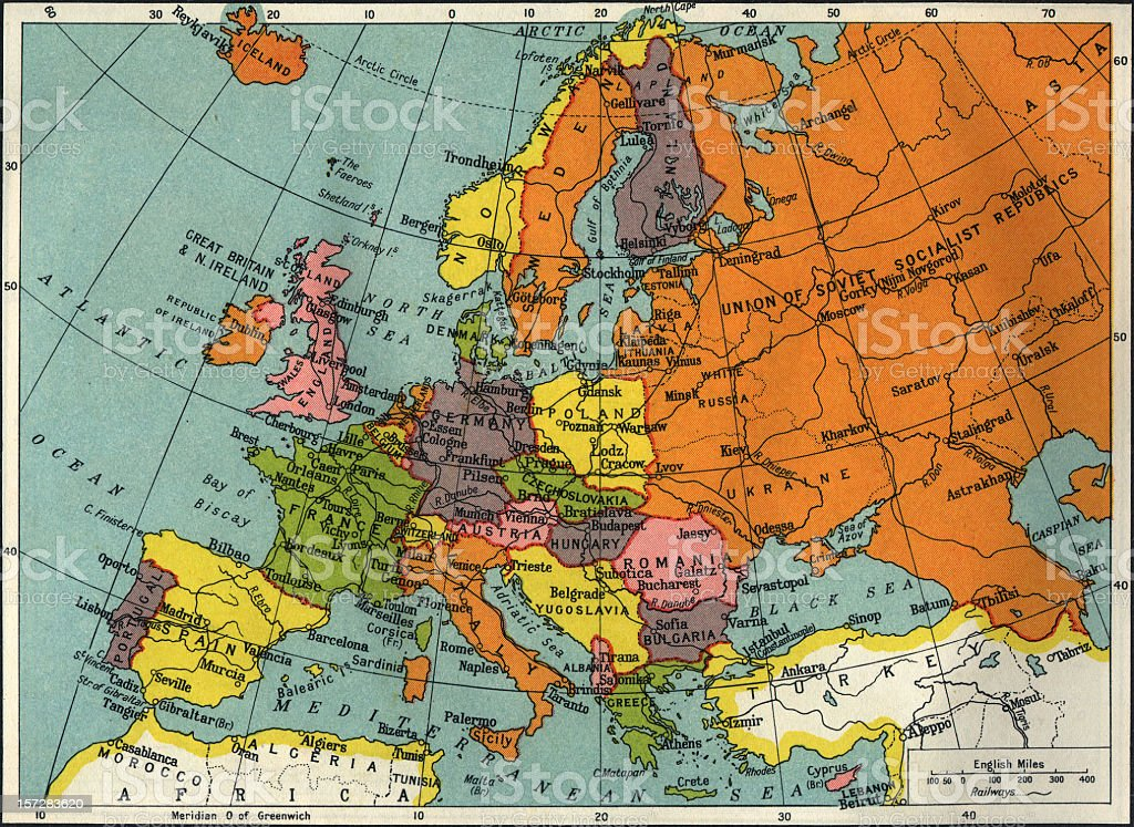Vintage map of Europe and Asia stock photo