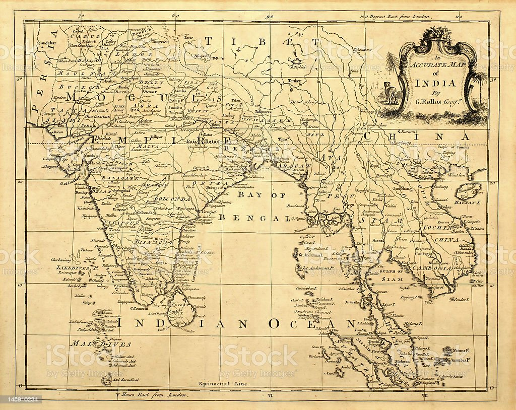 Vintage Map of India and SE Asia. stock photo