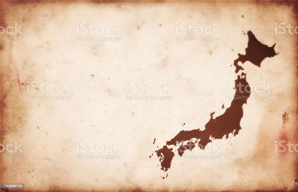 Vintage Map of Japan on Antique Paper royalty-free stock photo