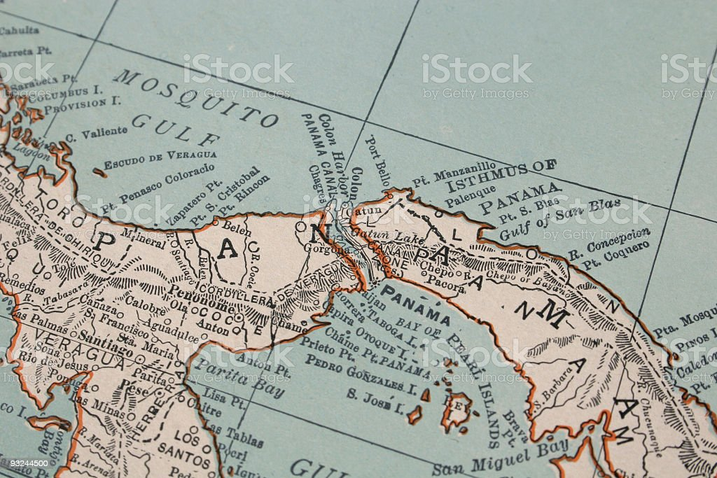 vintage map of Panama stock photo