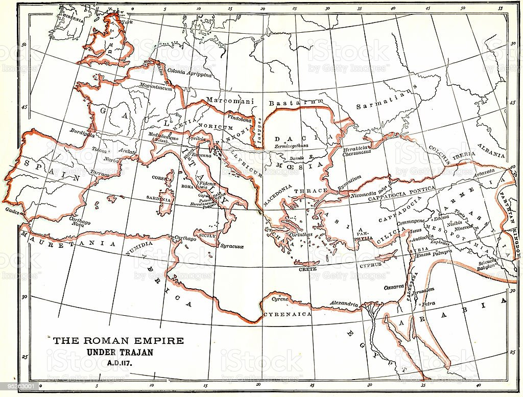 Vintage Map of the Roman Empire stock photo