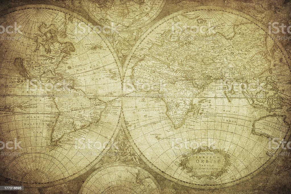 vintage map of the world 1675 royalty-free stock photo