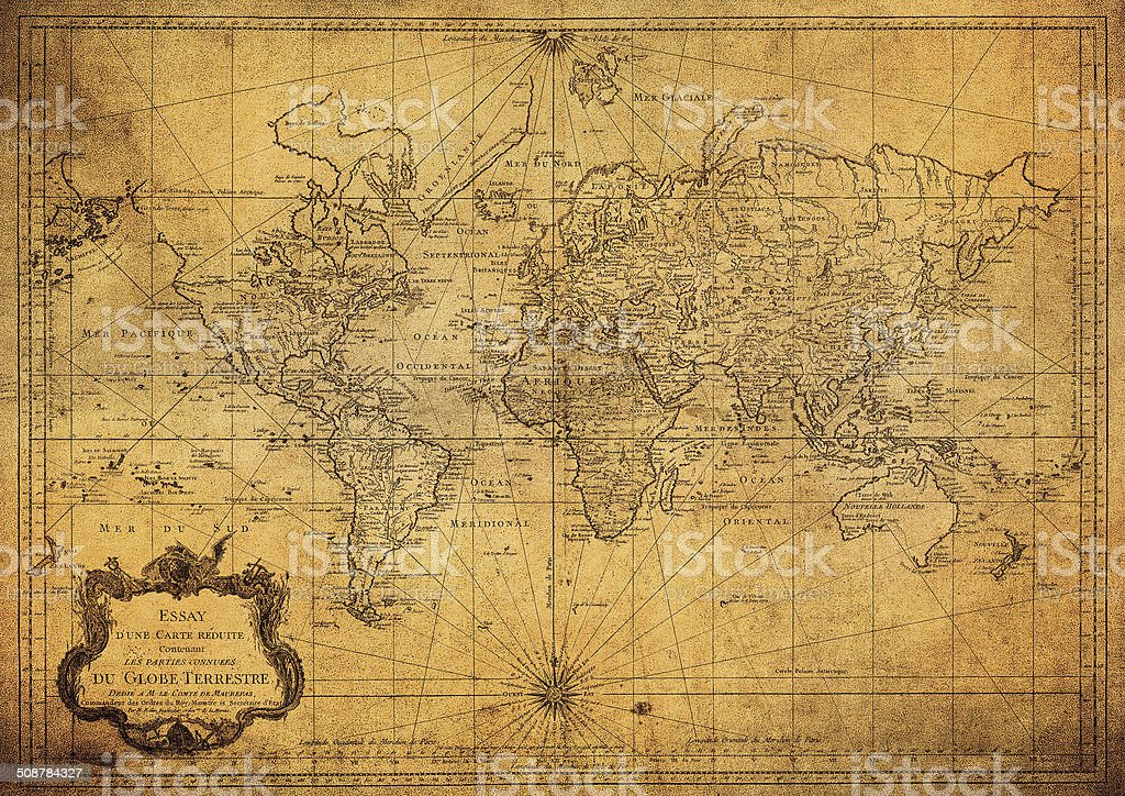 vintage map of the world 1778 stock photo