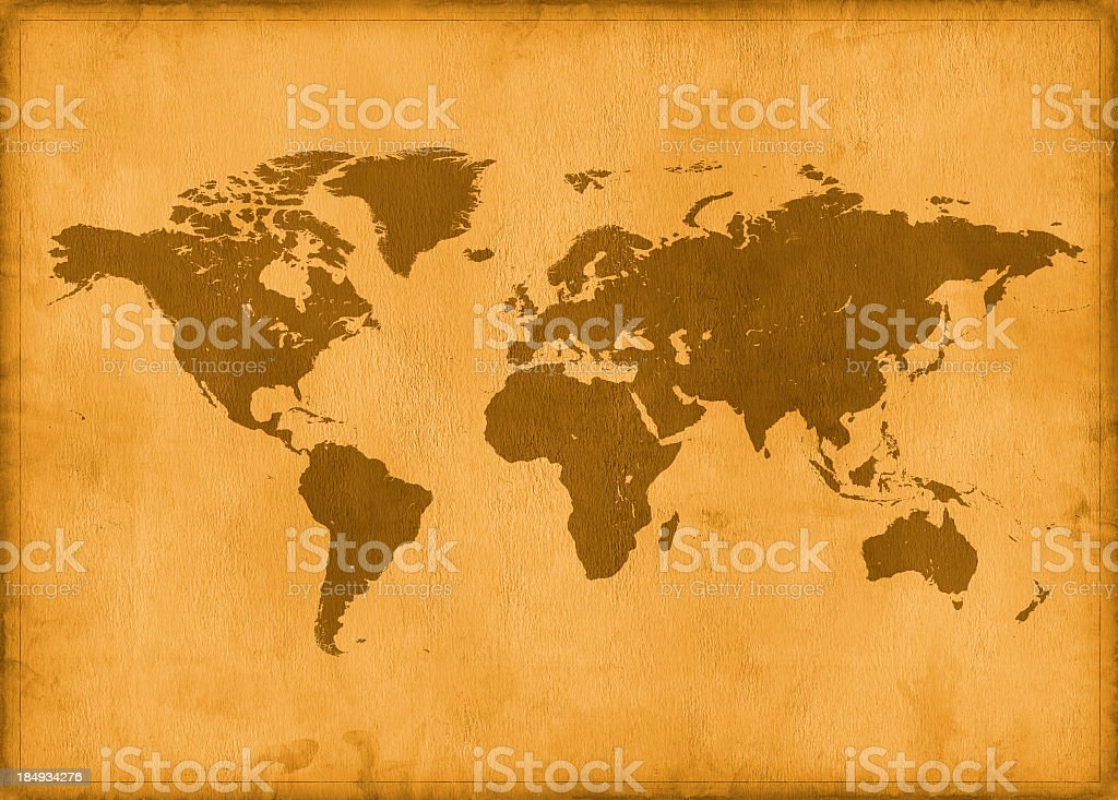 Vintage map of the world in brown coloring stock photo