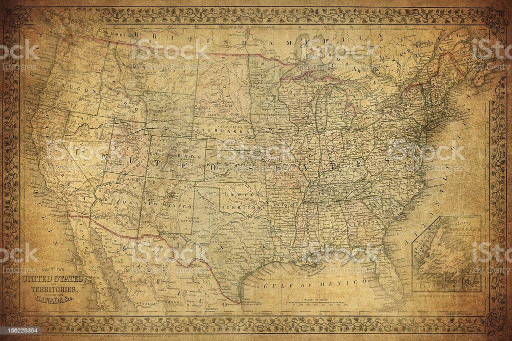 Vintage map of United States 1867 stock photo
