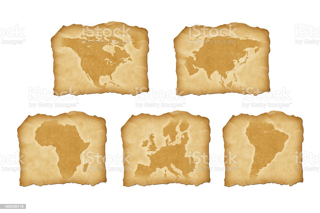 Vintage maps of continents stock photo