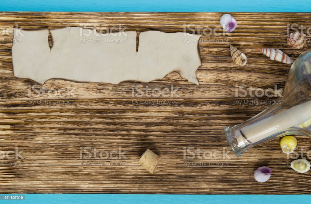 vintage marine background with a place under an inscription on paper stock photo