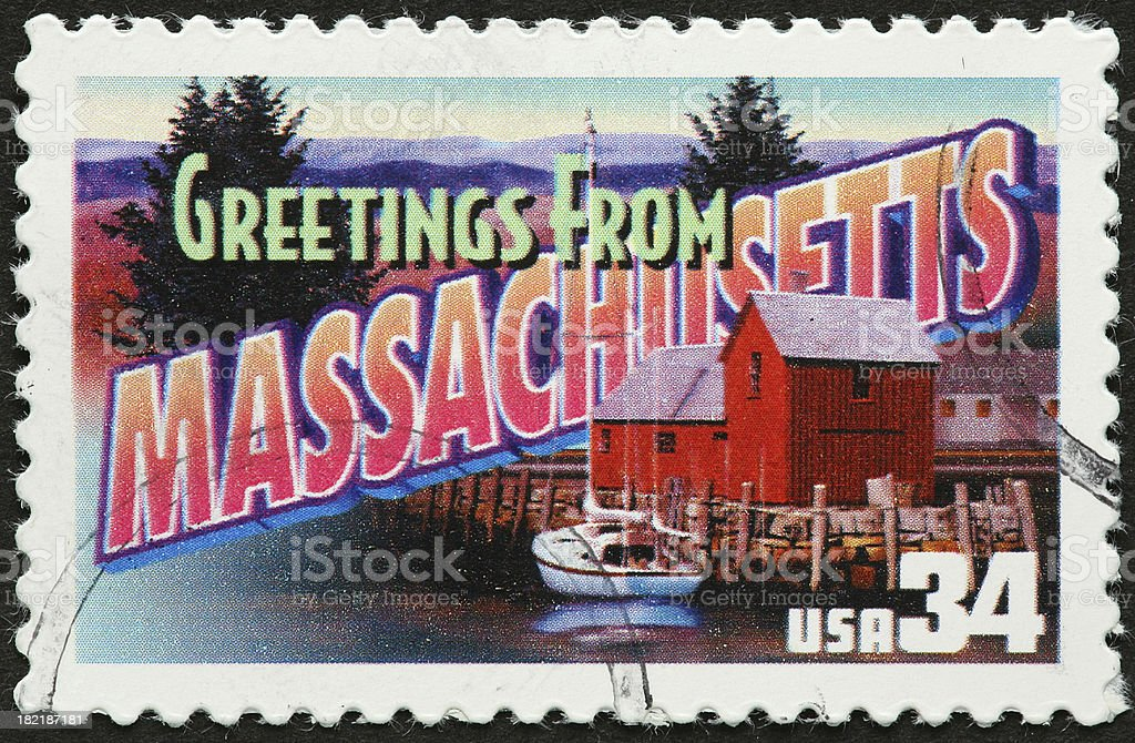 vintage Massachusetts postcard royalty-free stock photo