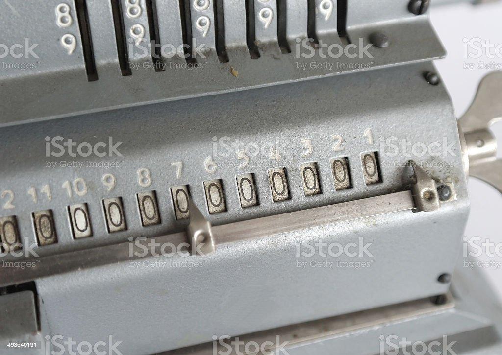 Vintage mechanical arithmometer stock photo