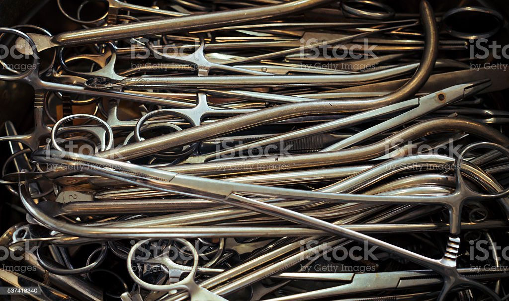 Vintage medical tools stock photo
