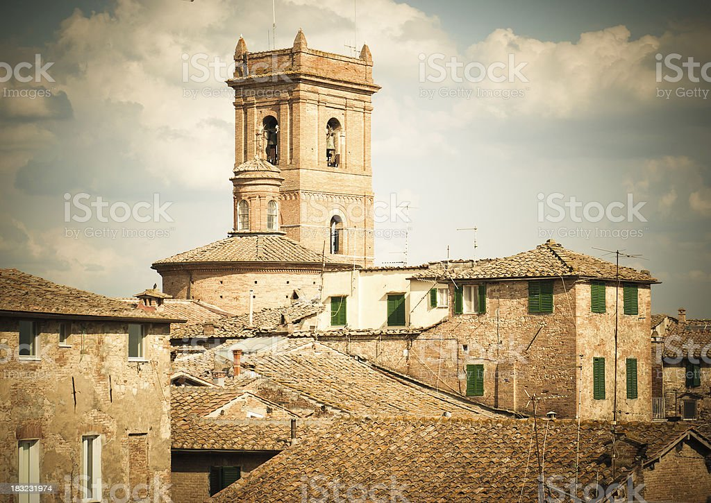 Vintage medieval old Siena city panorama - Landscape royalty-free stock photo