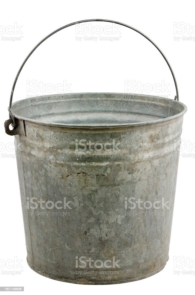 Vintage metal bucket isolated on white stock photo