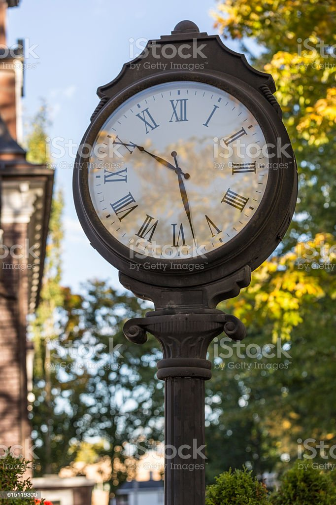 Vintage Metal Clock stock photo