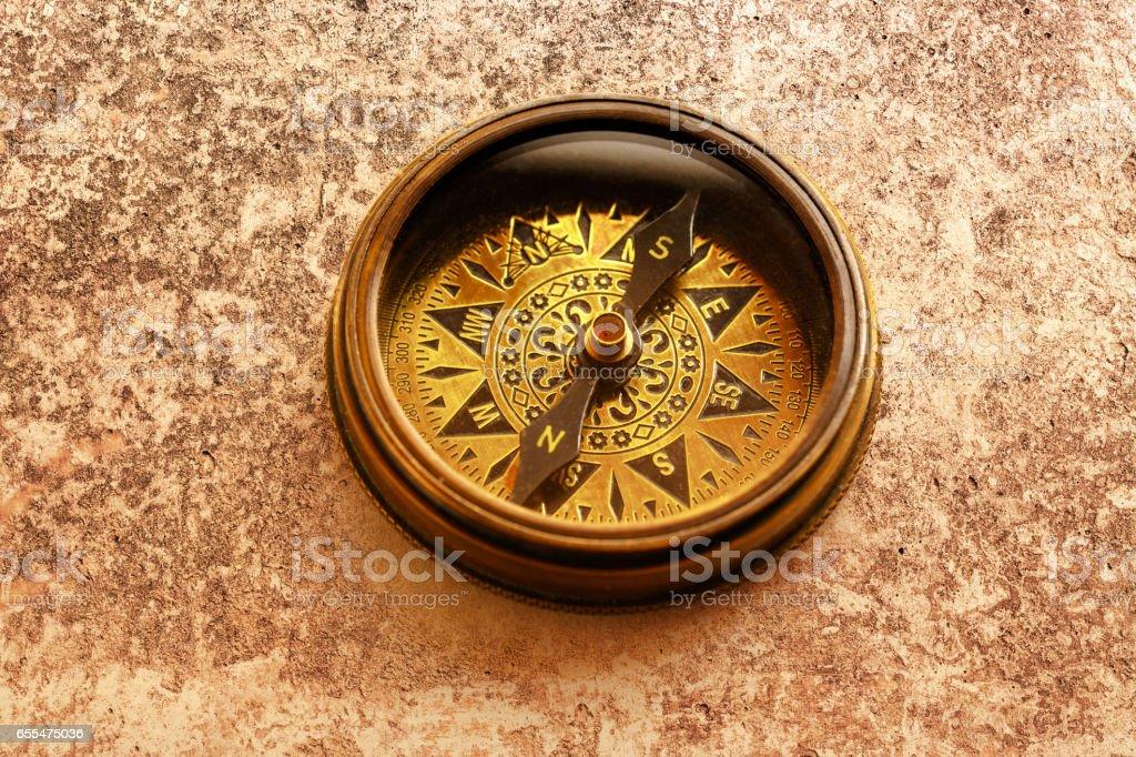 Vintage metal compass stock photo