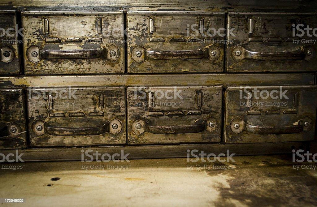 vintage metal drawers royalty-free stock photo