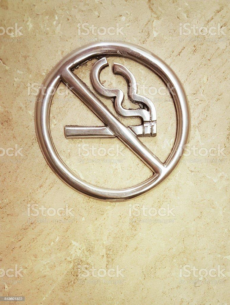 Vintage metal no smoking sign stock photo