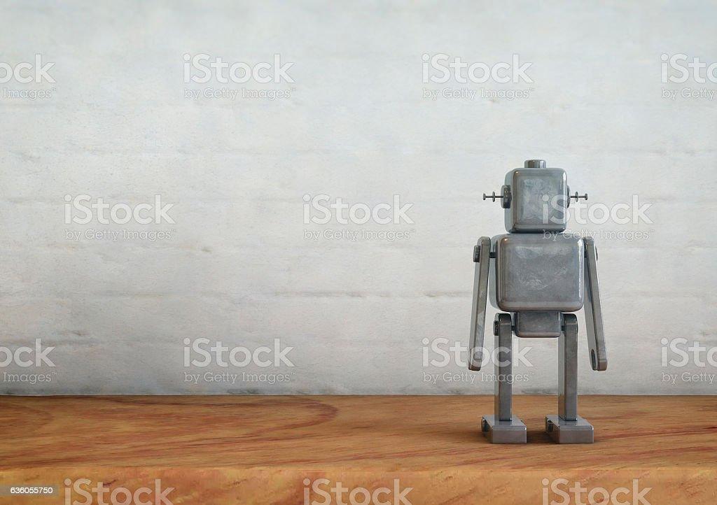 Vintage metal robot toy. stock photo