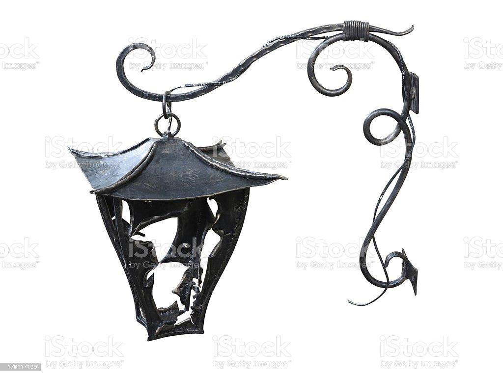 Metal forjados lâmpada de parede vintage isolado sobre o branco foto de stock royalty-free