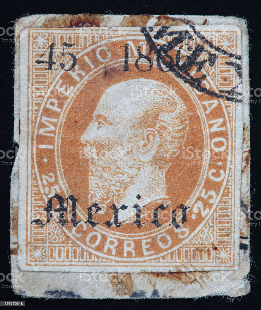 Vintage Mexican Postage Stamp stock photo
