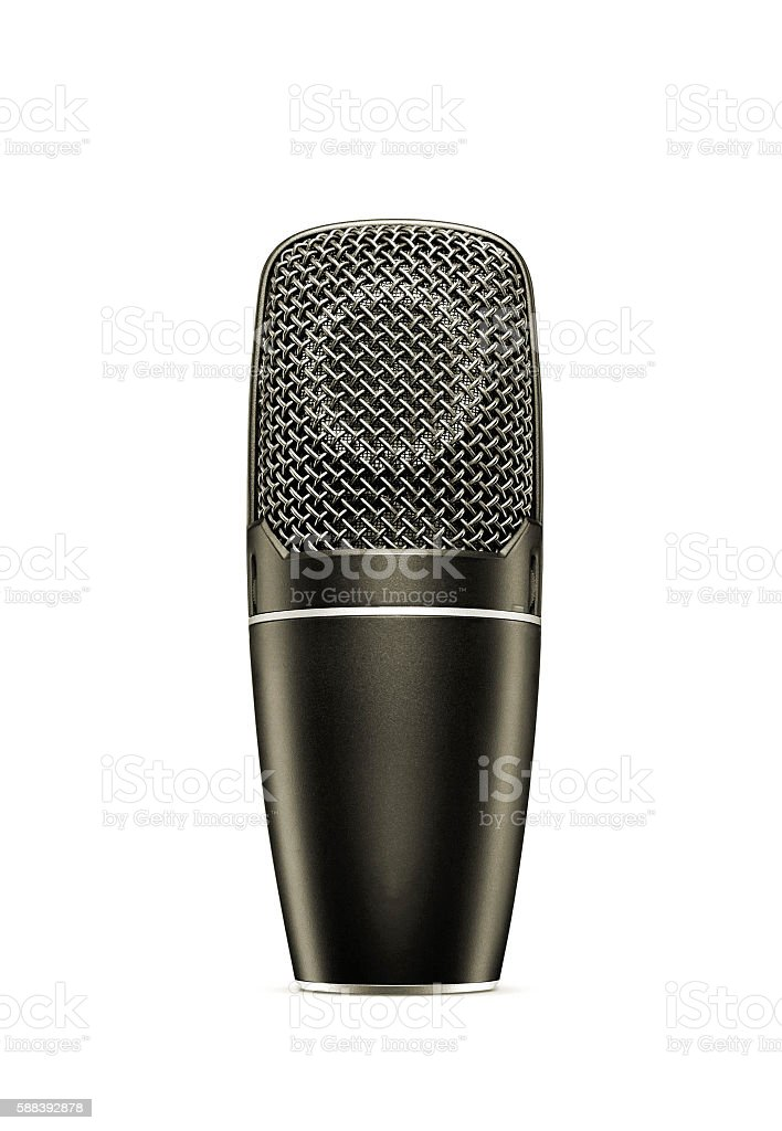 Vintage microphone isolated on the white background stock photo