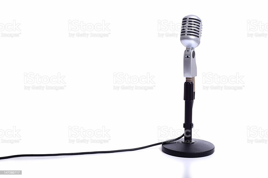 Vintage Microphone on White stock photo