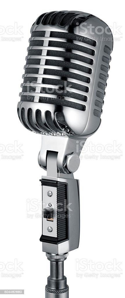 Vintage Microphone (isolated with clipping path over white background) stock photo