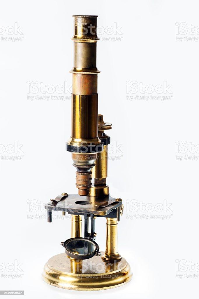 Vintage microscope stock photo