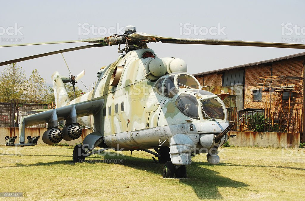 Vintage military attack helicopter royalty-free stock photo