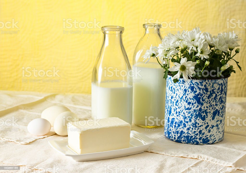 Vintage Milk Bottles With Butter And Eggs royalty-free stock photo
