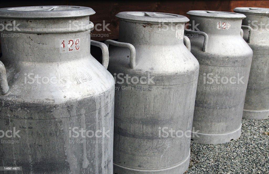 Vintage milk churns royalty-free stock photo