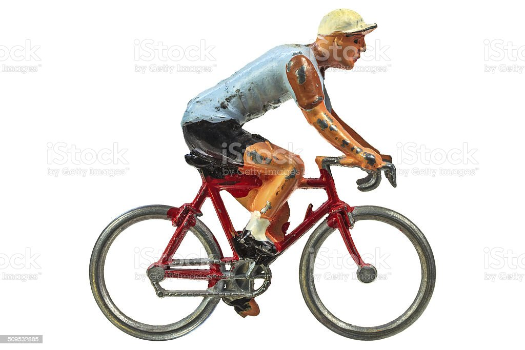 Vintage miniature sport cyclist isolated on white stock photo