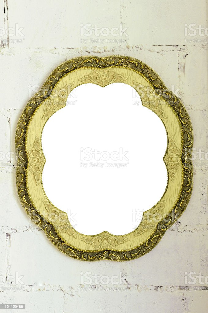 Vintage mirror frame on white wall royalty-free stock photo