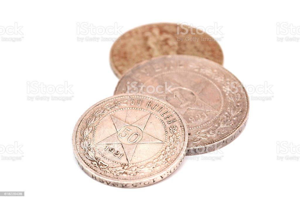vintage money, coins stock photo