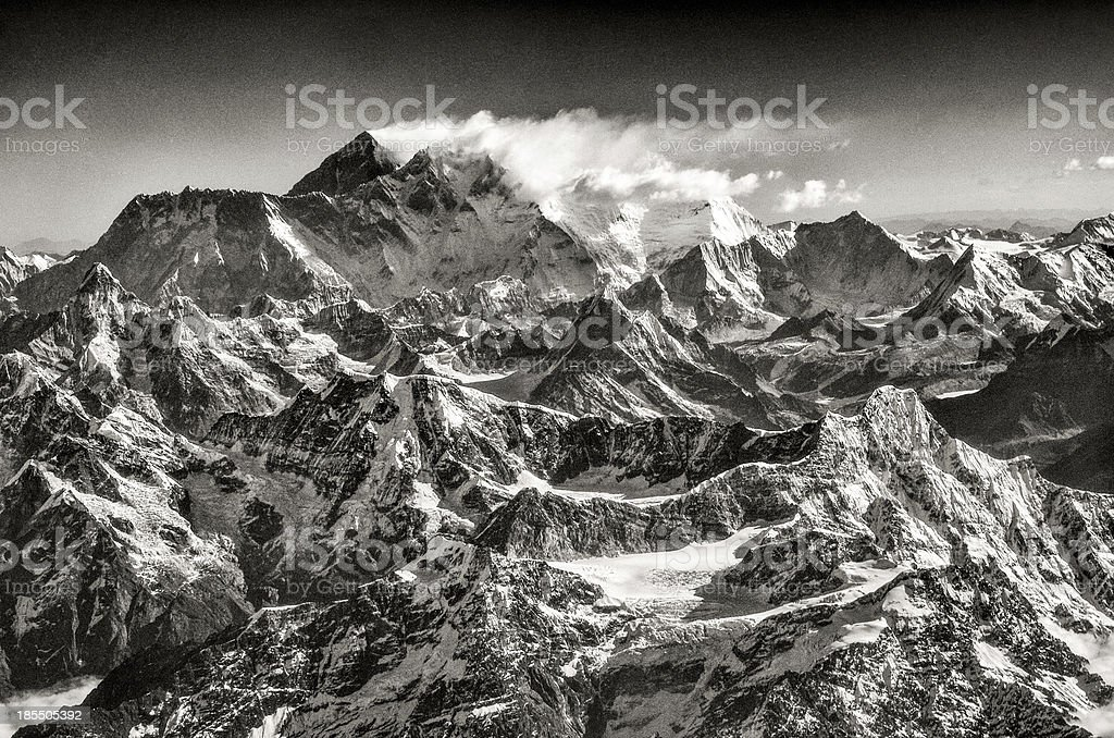 Vintage monochrome view of Mt Everest, Himalayas royalty-free stock photo