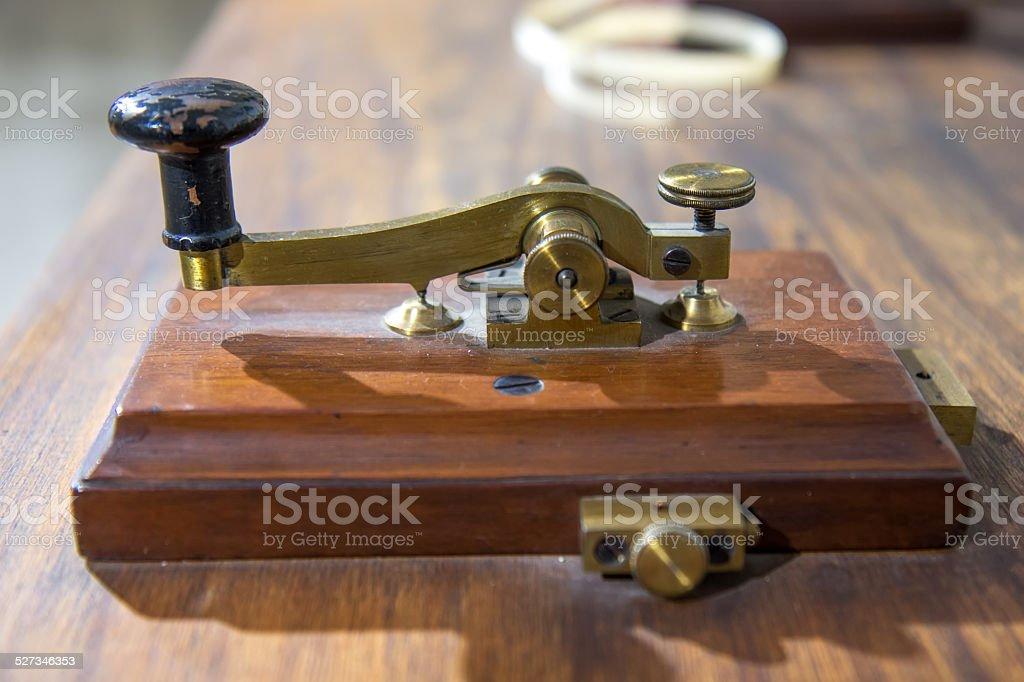 Vintage morse telegraph machine stock photo