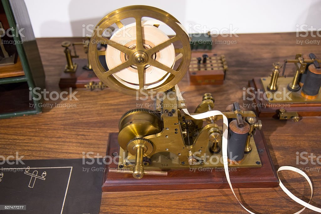 Vintage morse telegraph machine stock photo