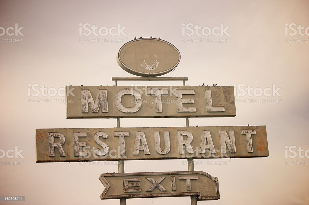 Vintage Motel and Restaurant With Exit Sign, Retro, Americana royalty-free stock photo