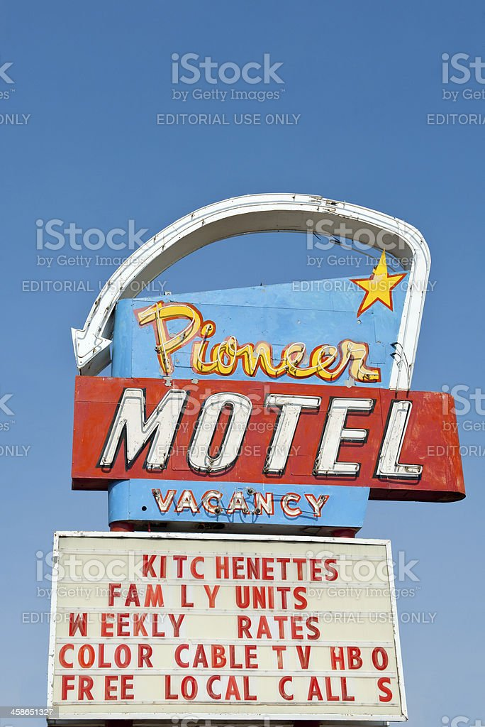 Vintage Motel Sign on Old Route 66 stock photo