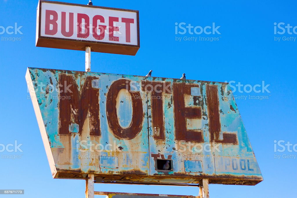 Vintage Motel Sign, Route 66 stock photo