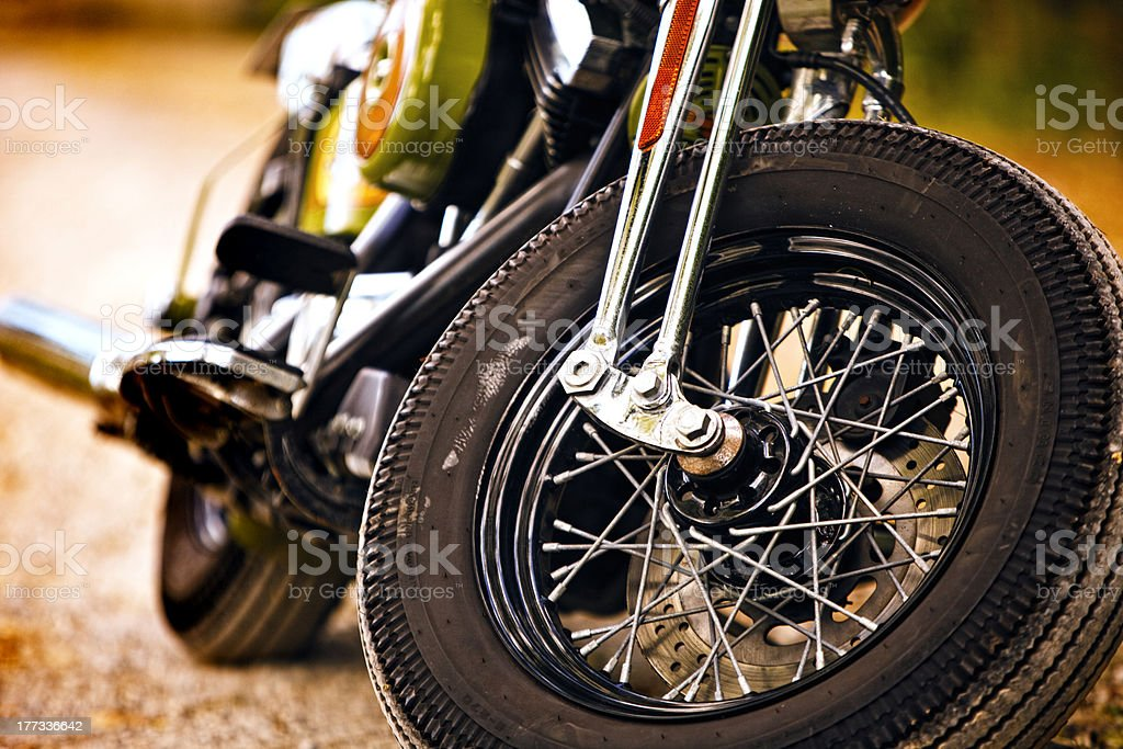 Vintage motorcycle front view stock photo