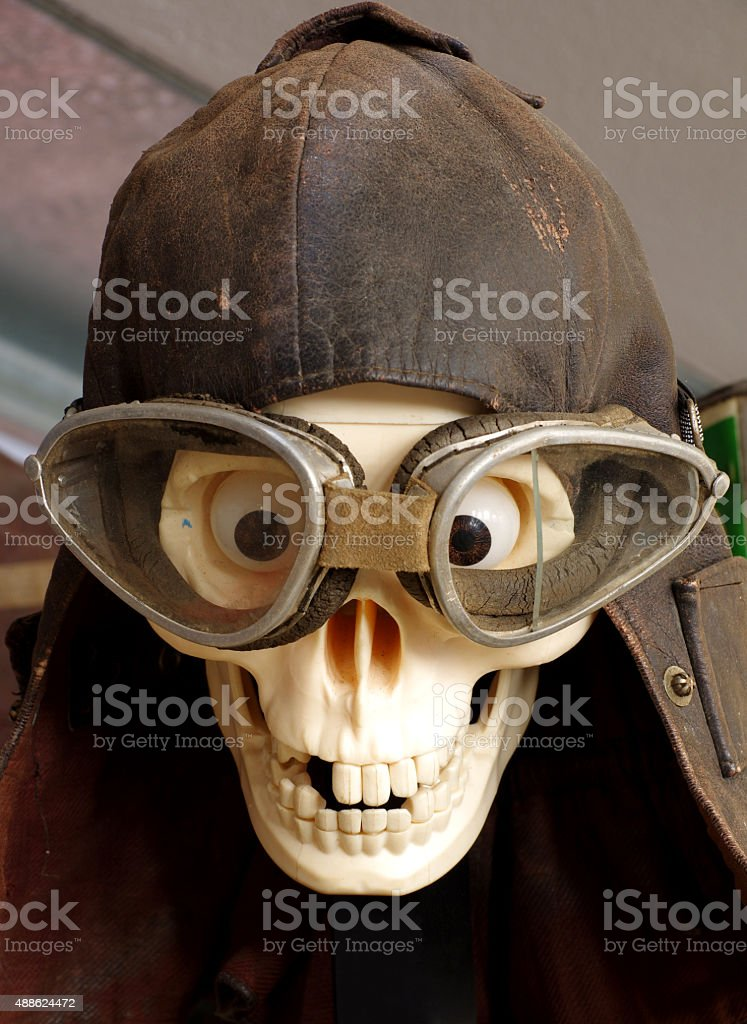 vintage motorcycle goggles and helmet the skull stock photo