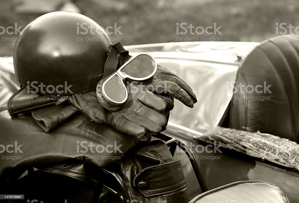 Vintage Motorcycle Leathers & Helmet stock photo