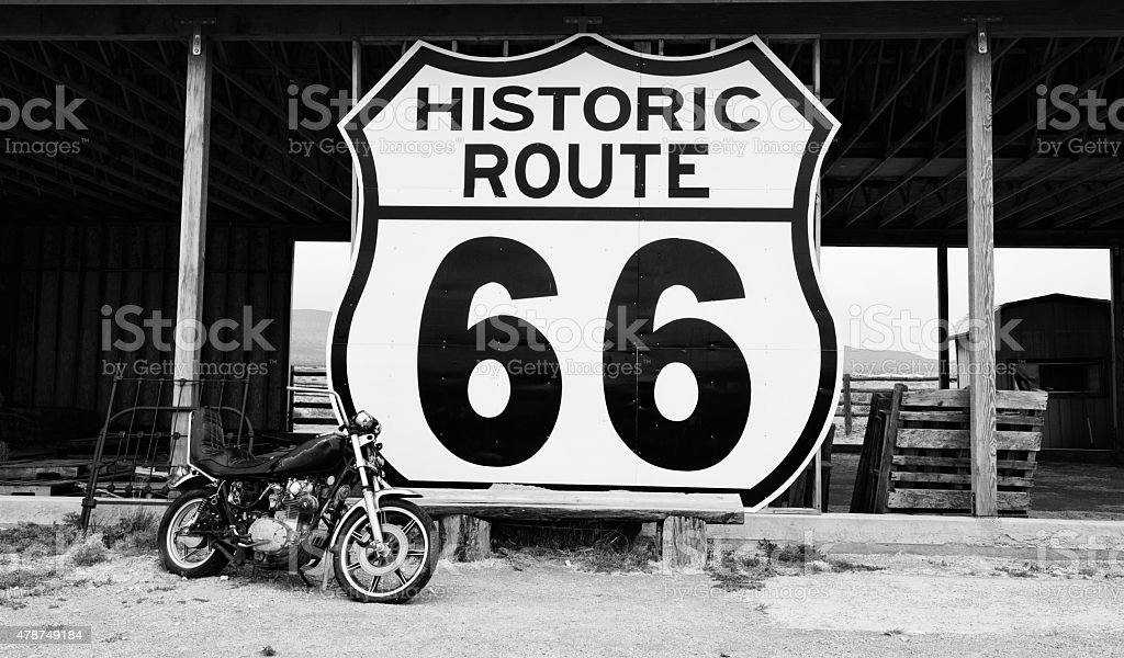 Vintage Motorcycle, Route 66, California. Black And White stock photo