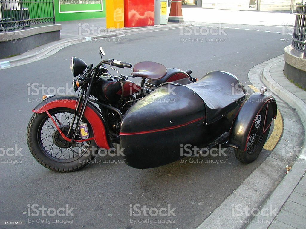 Vintage motorcycle & sidecar stock photo