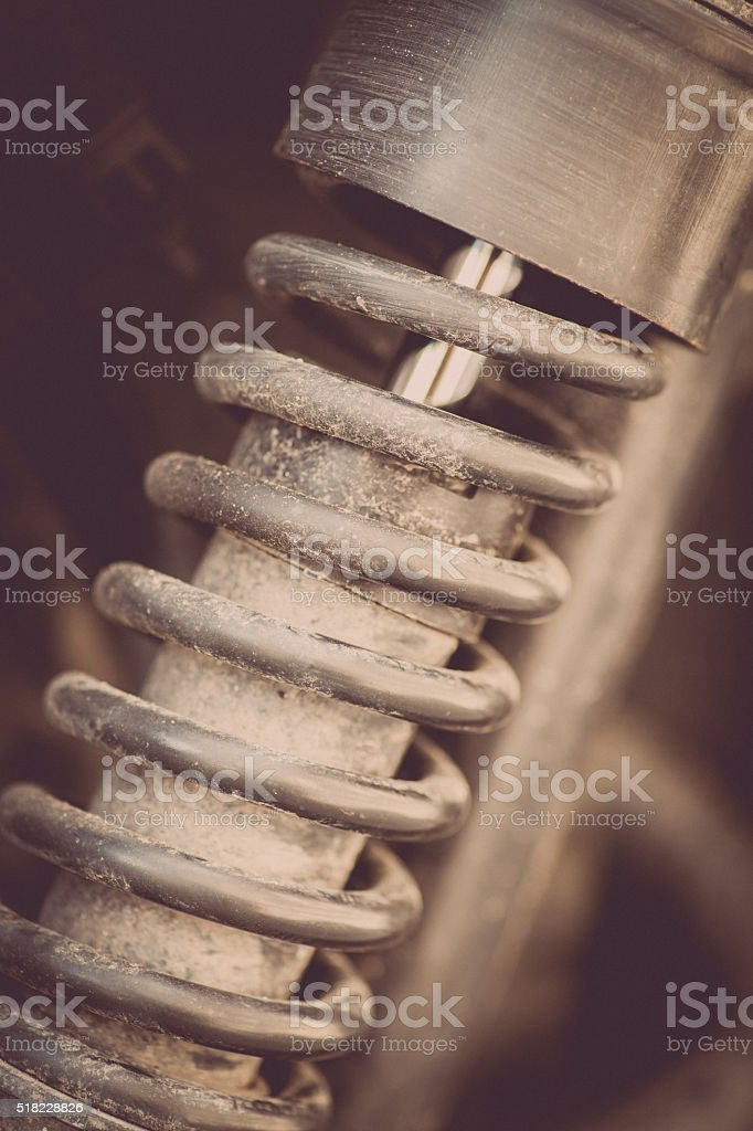 Vintage motorcycle suspension stock photo
