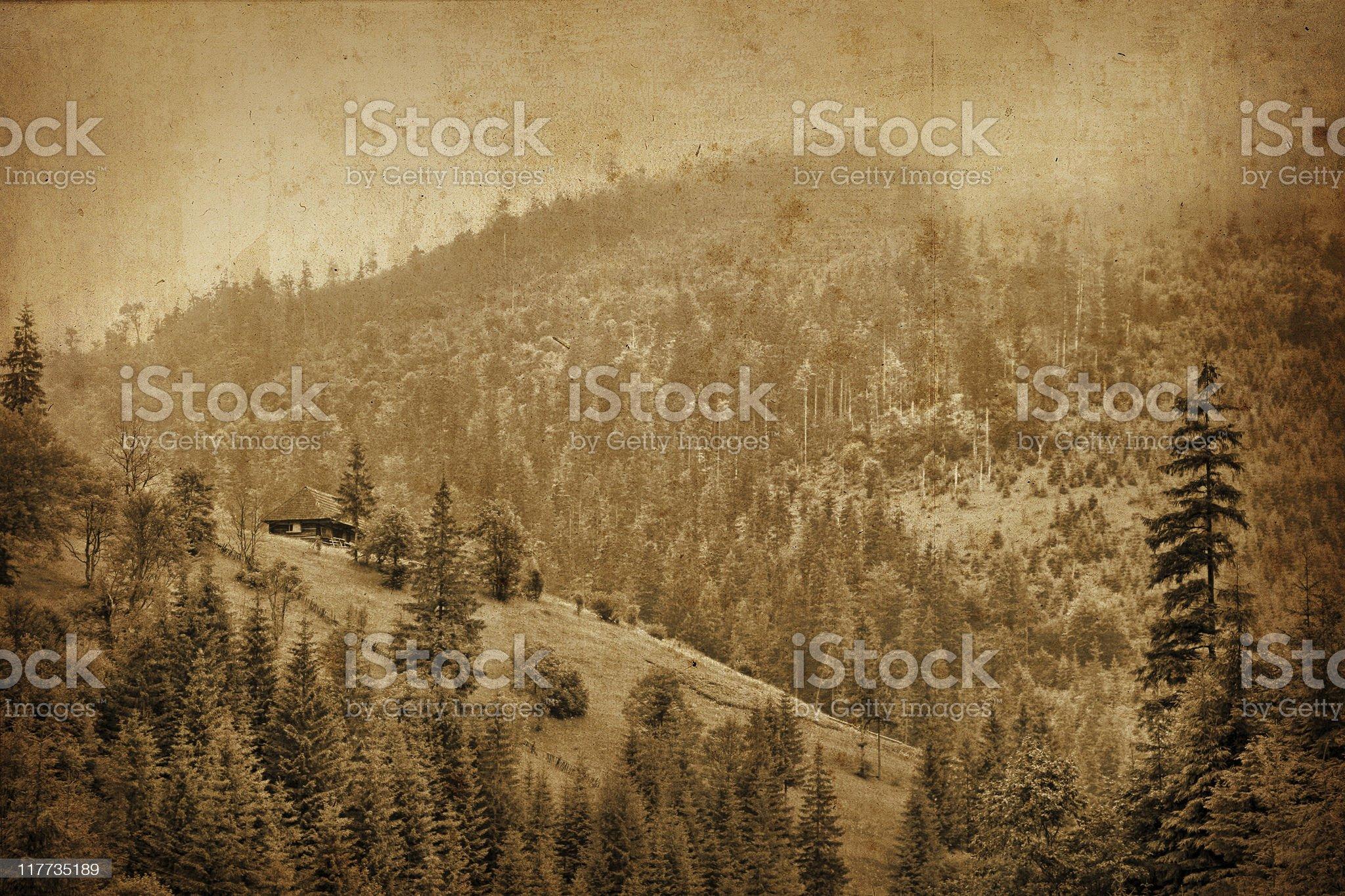 vintage mountain panorama royalty-free stock photo