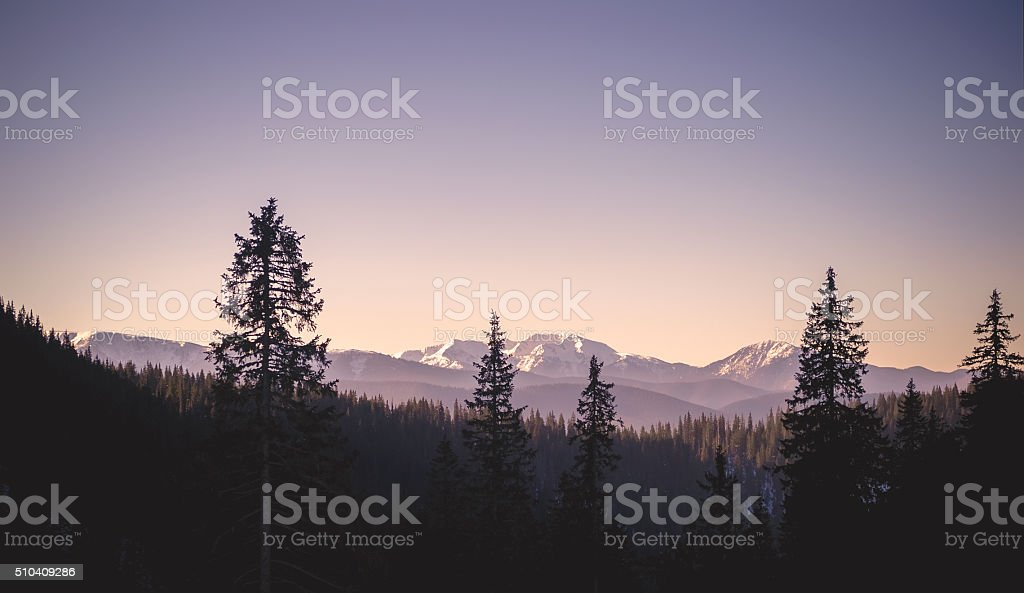 Vintage mountain view stock photo